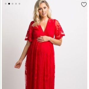 PinkBlush Red Lace Mesh Maternity Dress